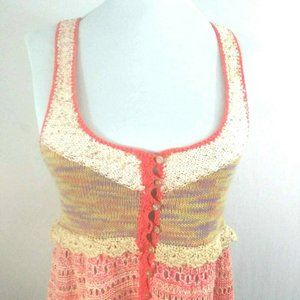 Free People Pink Knitted Crochet Sequin Tank Top